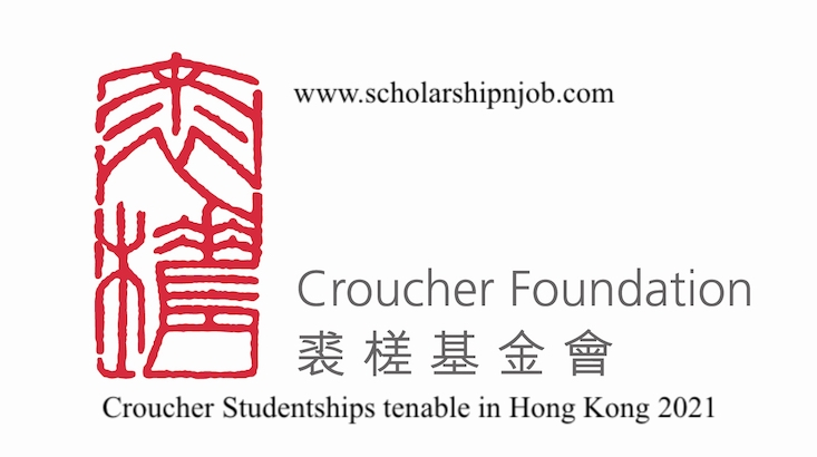 Fully Funded Croucher Studentships tenable in Hong Kong